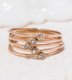 Rose cut diamond stacking rings