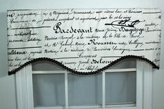 French script curtain valance with decorative trim