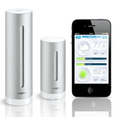 Personal Weather Station. Place thesedurable, UV-resistant station modulesindoors and out to monitor your weather and air quality. You'llimprove your home's wellnesswith readouts of temperature, CO2 concentration, noise pollution, and humidity. It even tells you the best time to open a window to let in some fresh air.