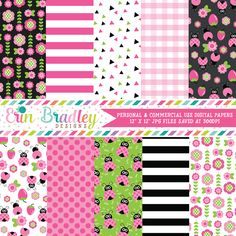 Pink Ladybugs Digital Papers – Erin Bradley/Ink Obsession Designs