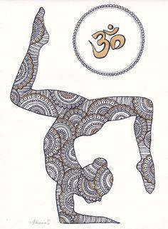 Oro Om símbolo Paisley Zentangle pintura Yoga Asana por DHANAdesign