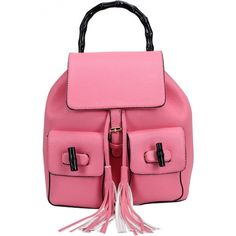 LUCLUC Pink Backpacks Tassels Twist Lock Drawstring Backpacks (2,300 THB) ❤ liked on Polyvore featuring bags, backpacks, drawstring knapsack, knapsack bags, backpacks bags, pink backpack and rucksack bag