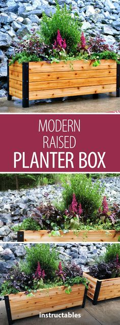 Modern Raised Planter Box // How to Build - Woodworking Build modern raised planter boxes using Cedar wood and a few pieces of angle iron.Build modern raised planter boxes using Cedar wood and a few pieces of angle iron. Diy Wood Planter Box, Diy Wooden Planters, Raised Planter Boxes, Planter Beds, Garden Planter Boxes, Cedar Planter Box, Modern Planters, Outdoor Planters, Outdoor Decor
