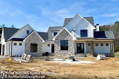 House Plan comes to life in Tennessee Farmhouse Homes, Farmhouse Plans, Modern Farmhouse, Architectural Design House Plans, Architecture Design, Stone House Plans, House Goals, Future House, Outdoor Living