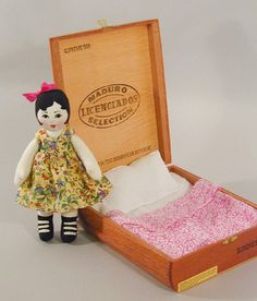 Cigar Box Doll tiny cloth doll PDF sewing pattern I love this .I reminds me of childhood Doll books by Rumer Godden.