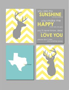 "Deer Silhouette with Chevron Zig Zag Stripes - You Are My Sunshine - Nursery Wall Art - Set of four prints  for modern nursery-  8""x10"". $50.00, via Etsy."