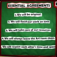 Essential Agreements- Artroom Rules and Expectations.