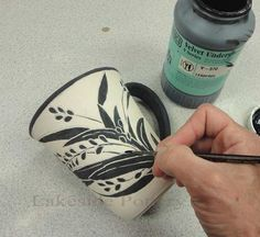 Sgraffito Pottery Technique - decorating pottery technique by applying layers of color or colors (underglazes or colored slips) to leather hard pottery, then scratching off areas to create contrasting images - by Lakeside Pottery