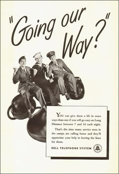 1945 WW2 Ad Bell Telephone System Sailor Soldier Marine on Old Telephone 012615 | eBay