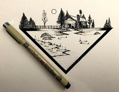 #drawing #dailydrawings #illustration #ink #inkdrawing #landscape #geometry…