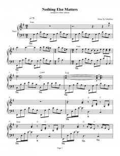 nothing else matters piano sheet music pdf