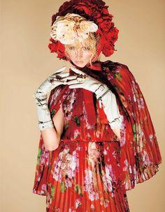 Daria Strokous wears floral fashion looks for Harper's Bazaar Japan Magazine December 2015 issue Photoshoot