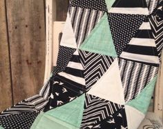 Mint Jubilee Baby Quilt  Mint and Grey by Nooches | Etsy