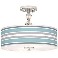 "Multi Color Stripes Giclee 16"" Wide Semi-Flush Ceiling Light - #N7956-X4190   LampsPlus.com"