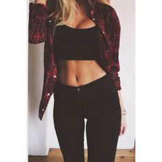 shirt plaid shirt ootd fashion swag black all black black outfit bra jeans girl crop tops skinny jeans pretty girl swag sweater pants High waisted shorts Fashion Killa, Look Fashion, Autumn Fashion, Womens Fashion, Teen Fashion, Fashion Black, Nail Fashion, Fashion Hair, Fashion News