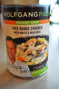 Wolfgang Puck's Soup.  There are 4 or 5 varieties that are GF.