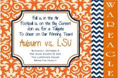 Auburn WAR EAGLE Tailgate Invitation by BluegrassWhimsy on Etsy, $12.00