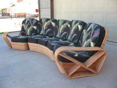 Vintage Curved Rattan Sofa, Frankl Style