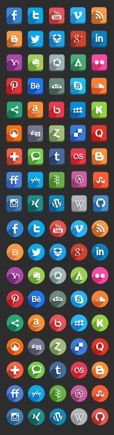 Long Shadow Social Media Icons (PSD)