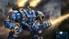 Assault Mech card art by Gong Studios for the Nova Blitz trading card game. Play the demo at NovaBlitz.com/demo!