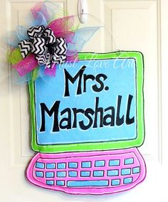 Computer Burlap Door Hanger Teacher Classroom by MustLoveArtStudio, $38.50