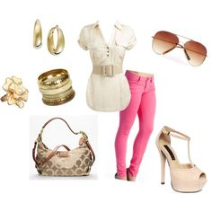 pink jeans, created by jill-monaco on Polyvore
