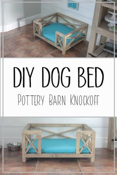 DIY Dog Bed - Pottery Barn Knockoff - This adorable X frame dog bed has the cutest farmhouse charm! Complete tutorial showing how to build the dog bed and make the cushion. This dog bed can be used for cats or any animal really! The size is for a medium dog but the post contains plans for dog beds of large and small sizes as well! #diydogbed #dogbed # farmhousepetbed #dogbedideas