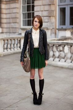The leather, the Peter Pan collar, the socks, everything.