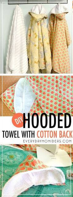 Sewing Projects For Baby DIY hooded towel for baby and toddler, easy sewing project for beginners. FREE step by step tutorial with template. Diy Bebe, Diy Couture, Sewing Hacks, Sewing Tips, Sewing Ideas, Sewing Crafts, Diy Crafts, Diy Gifts Sewing, Baby Sewing Tutorials