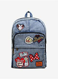 "Be incredibly you in this customizable denim backpack from Disney and Loungefly! It's got three zippered pockets, an internal laptop pouch, and a padded back and straps! The denim bag features several different Minnie Mouse themed patches and has more than enough room for you to add more patches of your own! <div><ul><li style=""list-style-position: inside !important; list-style-type: disc !important;"">Cotton</li><li style=""list-style-position: inside !important; list-style-type: disc !"