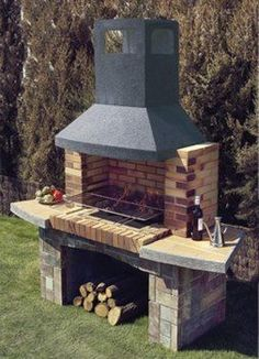 This is another artistic creation of the patio BBQ grill design that is worth to talk about! Into this grill set, a small area has been set for the BBQ fireplace whereas the downside area of the set has been comprised with the place for the settlement of Outdoor Barbeque, Outdoor Oven, Barbecue Grill, Backyard Kitchen, Outdoor Kitchen Design, Backyard Patio, Brick Grill, Patio Grill, Grill Design