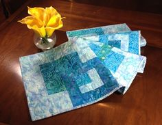 Modern Table Runner, Turquoise and Blue Wallhanging, Teal Bed Runner - pinned by pin4etsy.com