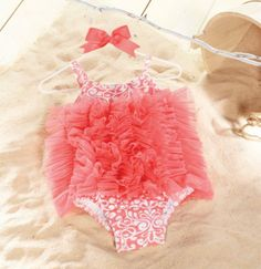Salmon Pink Damask Ruffle Romper from The Couture Baby