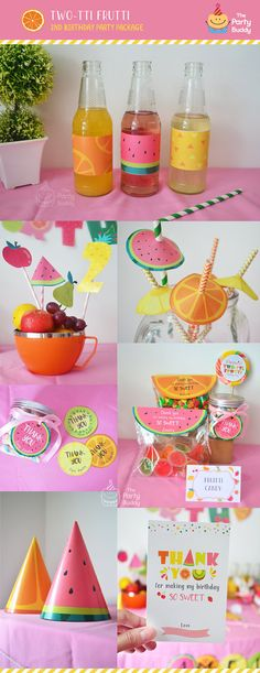 """★ Twotti Frutti Digital Printable ★ COMPLETE PARTY PACKAGE* PRINTABLE DIGITAL FILES - 15 Items Included 1. Banners: Happy Birthday & Name - Personalized 2. Party Signs (8"""" x 10"""") - Personalized 3. Bottle Wrappers (9"""" x 2.3"""") - Personalized 4. Straw Umbrella 5. Cupcake Wrappers 6."""