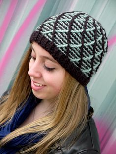 Free crochet hat pattern on Tangled. Mint Chocolate Beanie by Amanda Muscha.