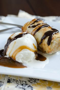 ok YUM!! Cookie Dough Eggrolls- eggless cookie dough rolled in an eggroll wrapper and flash fried, served with ice cream