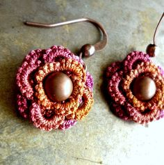 Petite Flowers - tatted lace earrings in copper and rose by Krystledawne