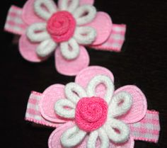 Alligator Hair Clip Gingham Ribbon Non by ImFineHairClipDesign, $5.00
