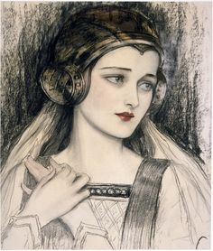 First published in Player's Club Programme in 1926, this illustration by artist Wladyslaw Theodore Benda shows a young woman in a Medieval headpiece. The image was done in charcoal and watercolor. Polish-born Benda lived from 1873 to 1948 and worked as a graphic artist with his illustrations appearing in advertising, books and magazines.