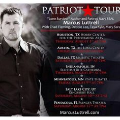 Throughout his life, Marcus Luttrell has been many things—a son, a brother, a husband, a father, a best-selling author, the subject of a forthcoming Hollywood blockbuster, and a brave Navy SEAL. Throughout it all, there's been one constant: his love for and belief in his country. Marcus Luttrell is an American patriot, and he's bringing his amazingly true story of determination, valor, and survival to you, live on stage. Don't miss your chance to see him and his special guests!!