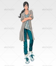 VECTOR DOWNLOAD (.ai, .psd) :: http://jquery.re/pinterest-itmid-1000122316i.html ... Girl standing while cross her arms ...  clean, gray, green, lifestyle, modern, woman  ... Vectors Graphics Design Illustration Isolated Vector Templates Textures Stock Business Realistic eCommerce Wordpress Infographics Element Print Webdesign ... DOWNLOAD :: http://jquery.re/pinterest-itmid-1000122316i.html