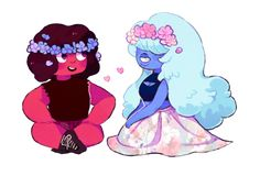 OP: did anybody ask for smol ruby and sapphire with flowers?   Steven Universe