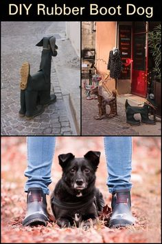 DIY Rubber Boot Dog Turn worn-out boots into some adorable garden decor. Third World Countries, Real Dog, Recycling Ideas, Making Out, Rubber Rain Boots, Diy Projects, Adventure, Garden, Dogs