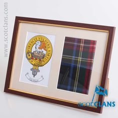 Stewart Clan Crest and Real Tartan Framed. Free worldwide shipping available