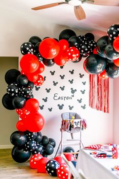 """Make next Mickey Mouse party """"INSTA-WORTHY"""" with our DIY Balloon Garland Kit! Our DIY kits come with everything you need to make your balloon garland look like a pro did it! No experience necessary! Mickey Mouse Birthday Decorations, Mickey Mouse Theme Party, Mickey Mouse Balloons, Mickey 1st Birthdays, Mickey Mouse First Birthday, Mickey Mouse Clubhouse Birthday Party, Mickey Mouse Cake, 1st Birthday Parties, Elmo Party"""