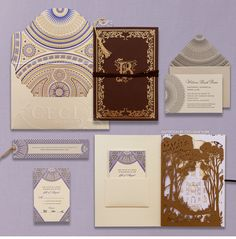 Luxury Wedding Invitations by Ceci New York - Our Muse - Romantic Wedding at the L.A. Public Library - Be inspired by Tamara and Brook's romantic wedding at the L.A. Public Library. Breakdown of invitation suite, research and inspiration.