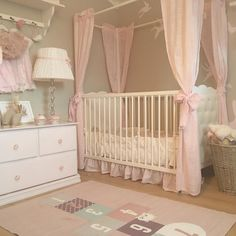 Love the colors and birds on wall. Canopy bed for my big girl