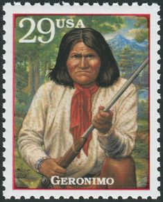 """United States Scott Oct Geronimo Text on back of stamp: """"Geronimo (Goyahkla) """"one-who-yawns"""" Chiricahua Apache war leader. Fine horseman, guerrilla leader and tactician who led war parties for 30 years. Widely believed to have spiritual powers. Geronimo, Stamp Printing, Stamp Collecting, Native American Indians, Postage Stamps, Nativity, Sport, 30 Years, Chief Joseph"""