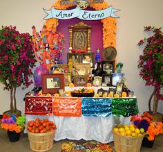 An altar honoring a passed loved one. You typically see a lot of these when learning or celebrating the day of the dead!