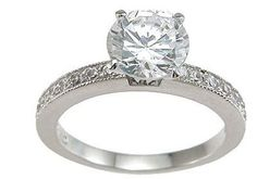 925 Sterling Silver CZ Brilliant Pave Engagement Ring